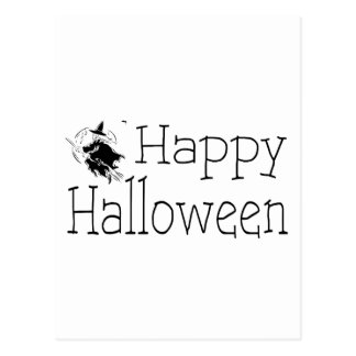 Happy Halloween Witch Broom Stick Postcard