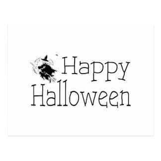 Happy Halloween Witch Broom Stick Postcard