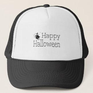 Happy Halloween Witch Broom Stick Trucker Hat