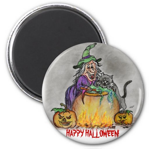 Happy Halloween witch cat 2 Inch Round Magnet