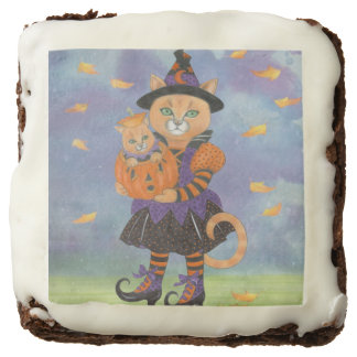 Happy Halloween Witch Cat and Pumpkin Kitty Brownie