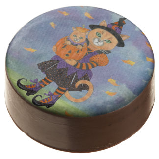 Happy Halloween Witch Cat and Pumpkin Kitty Chocolate Dipped Oreo