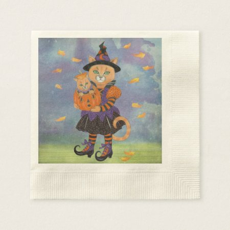 Happy Halloween Witch Cat and Pumpkin Kitty Paper Napkin