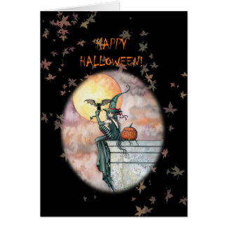 Happy Halloween Witch Cat Card
