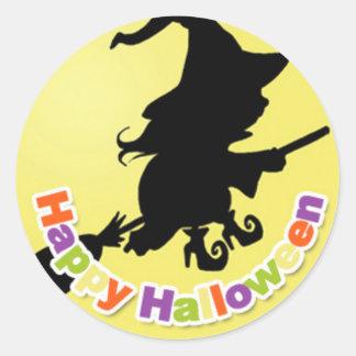 Happy Halloween Witch Classic Round Sticker