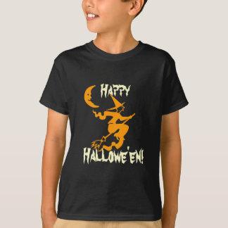 Happy Halloween Witch Flying on Broom Orange Moon T-Shirt