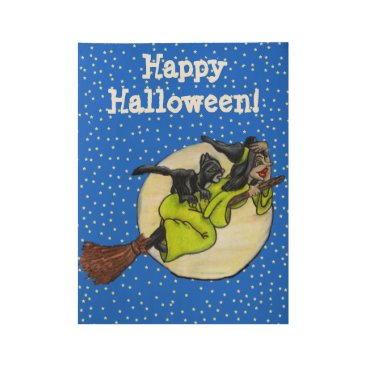 Halloween Themed Happy Halloween Witch Flying on Broom Past Moon Wood Poster