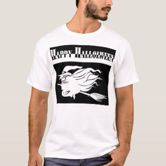 Happy Halloween Witch Flying on Broomstick T-Shirt