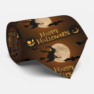 Happy Halloween Witch Full Moon and Bats Neck Tie