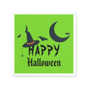 Halloween Themed Happy Halloween Witch Hat Bats Moon Neon Green Napkin