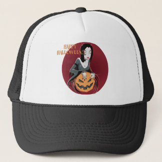 Happy Halloween Witch Holding  Pumpkin Design Trucker Hat