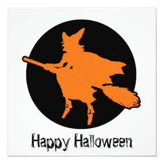 Happy Halloween  Witch 5.25x5.25 Square Paper Invitation Card
