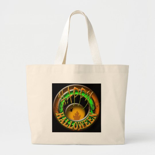 Happy Halloween witch Large Tote Bag