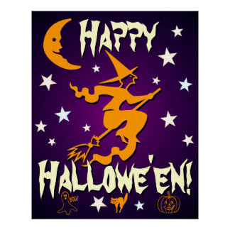 Happy Halloween Witch Moon Stars Ghost Cat Pumpkin Poster