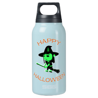 Happy Halloween Witch on Broomstick Insulated Water Bottle