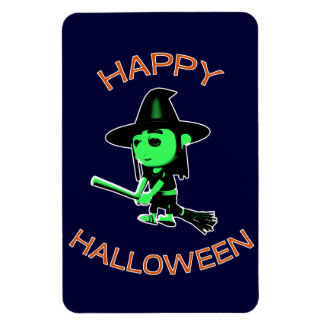 Happy Halloween Witch on Broomstick Magnet