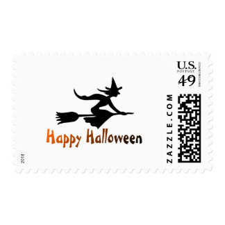 Happy Halloween Witch Postage Stamps