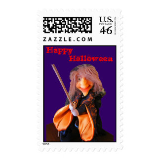 Happy Halloween Witch postage stamp