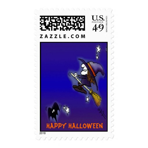 Happy Halloween Witch ~ Postage Stamps