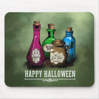 Happy Halloween! Witch Potion Bottles Mouse Pad