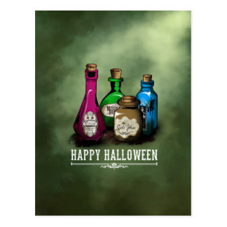 Happy Halloween! Witch Potion Bottles Postcard