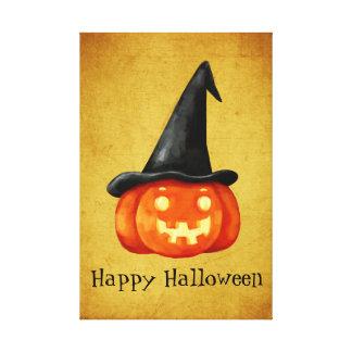 Happy Halloween Witch Pumpkin Canvas Print