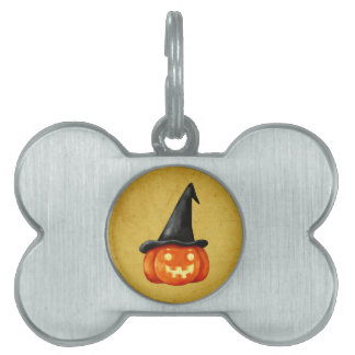 Happy Halloween Witch Pumpkin Pet ID Tag