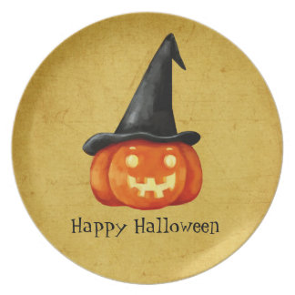 Happy Halloween Witch Pumpkin Party Plate