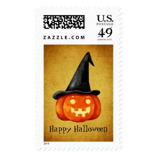Happy Halloween Witch Pumpkin Postage Stamp