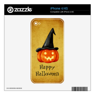 Happy Halloween Witch Pumpkin Skins For iPhone 4