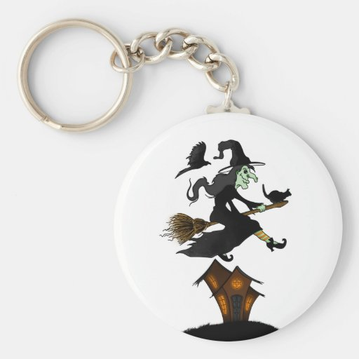 Happy halloween! Witch Riding a Broomstick Llavero Redondo Tipo Pin