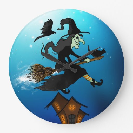 Happy halloween! Witch Riding a Broomstick Relojes De Pared