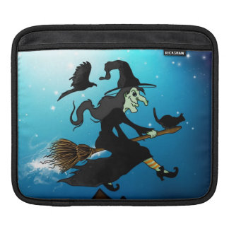 Happy halloween! Witch Riding to Broomstick iPad Sleeve