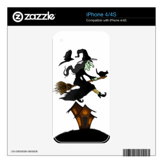 Happy Halloween! Witch Riding to Broomstick iPhone 4 Skins