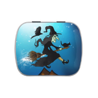 Happy halloween! Witch Riding to Broomstick Jelly Belly Tins