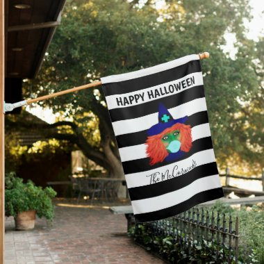Happy Halloween Witch Striped Family Monogram House Flag