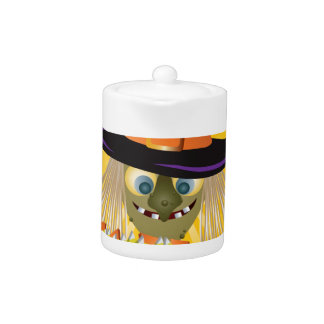 Happy Halloween Witch with Bowl of Candy Teapot