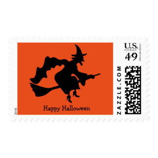 Happy Halloween Witch with Broom Postage