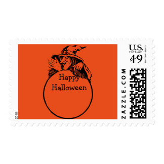 Happy Halloween Witch with Ring Postage