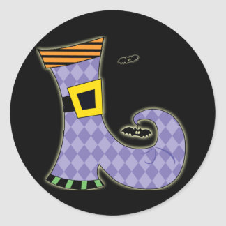 Happy Halloween Witches Boot Classic Round Sticker