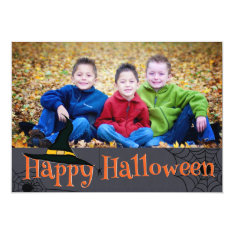 Happy Halloween Witches Hat Photo Card at Zazzle