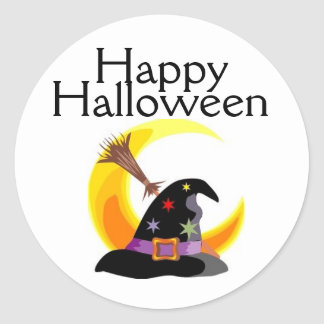 Happy Halloween Witches Hat Sticker - Customized