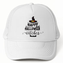 Happy Halloween Witches Typography Halloween Trucker Hat