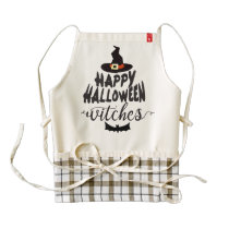 Happy Halloween Witches Typography Halloween Zazzle HEART Apron