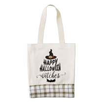 Happy Halloween Witches Typography Halloween Zazzle HEART Tote Bag