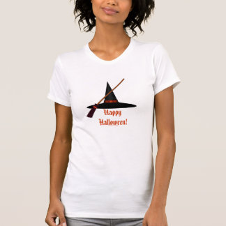 """Happy Halloween!"" - Witch's Broom and Hat T-shirt"