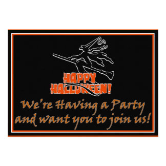 Happy Halloween Witchy Silhouette Invite