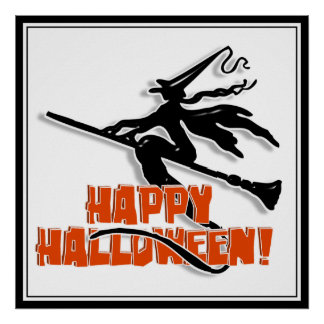 Happy Halloween Witchy Silhouette Print