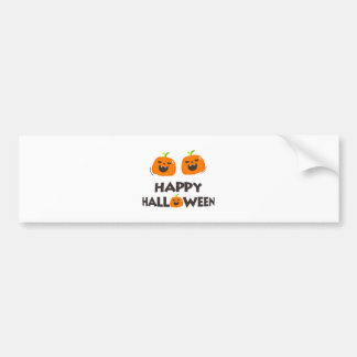 Happy Halloween with 2 cute smiling pumpkins. Bumper Sticker