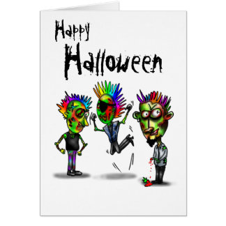 Happy Halloween with 3 zombies illustration Card